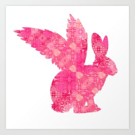 Retro Pink Silhouette Flying Bunny Rabbit Print Art Print