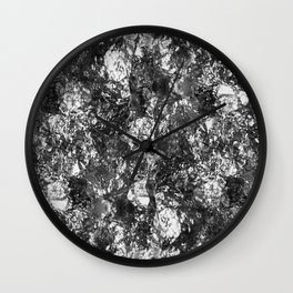 Moon Rock - Abstract, metallic silver textured lunar pattern Wall Clock