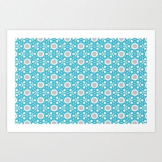 Tilly pattern - blue+grey Art Print
