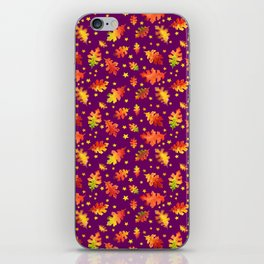 Autumn Nights Leaf and Star Pattern iPhone Skin