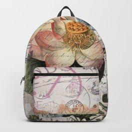 french scripts lotus floral vintage paris eiffel tower Backpack