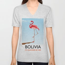 Bolivia Flamingo vacation print Unisex V-Neck
