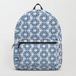 Japanese Geometric Flower Stitching in Blue and White Backpack