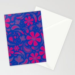Bisexual Pride Floral Paisley Pattern Stationery Cards