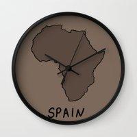 spain Wall Clocks featuring Spain by Roman Jones