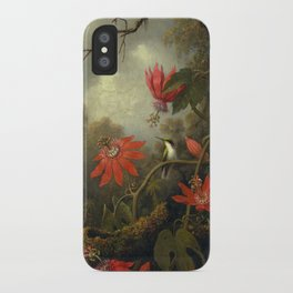 Hummingbird and Passionflowers by Martin Johnson Heade, 1875 iPhone Case