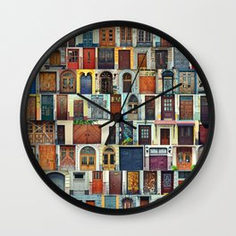 Collage of Kiev front doors,Ukraine Wall Clock