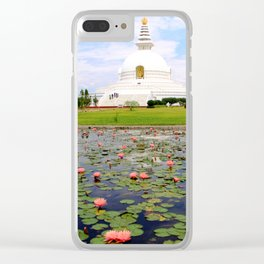 World Peace Pagoda with Lotus Flowers Clear iPhone Case