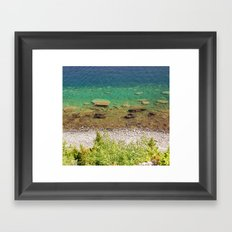 Stone shore on the lake in Canada Framed Art Print