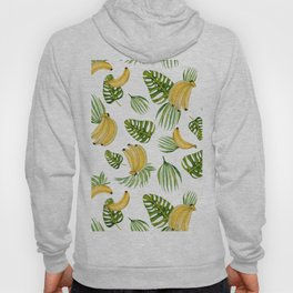 Tropical green yellow leaves fruity banana watercolor Hoody