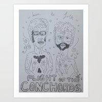 flight of the conchords Art Prints featuring Flight of the Conchords by Jessica-Tayler Cain