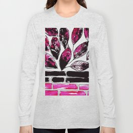 Tiles & leaves (pink-black) Long Sleeve T-shirt