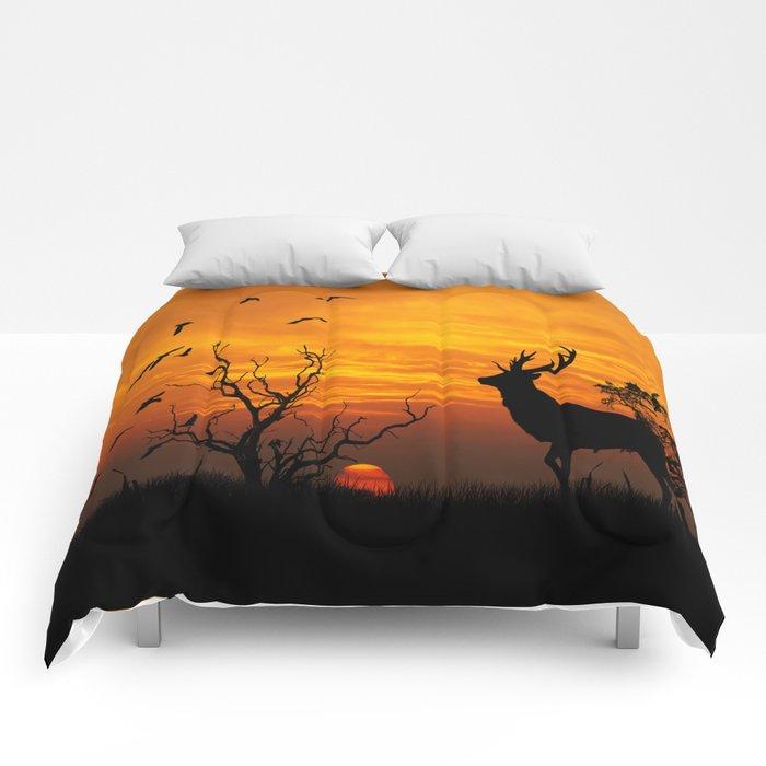 Sunset Deer Silhouette Comforters