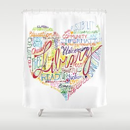 Library Heart Shower Curtain