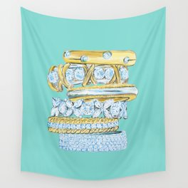 Golden Rings on Blue Wall Tapestry