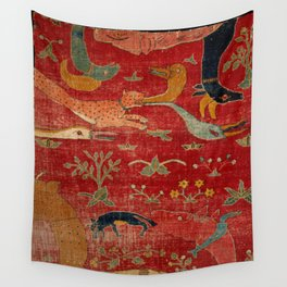 Animal Grotesques Mughal Carpet Fragment Digital Painting Wall Tapestry