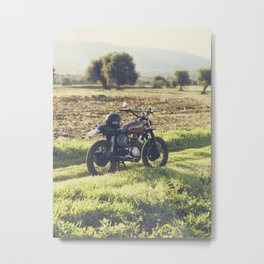 Moto guzzi, café racer, photo in south italy, man cave. Scrambler, fine art, motorcycle, motorbike Metal Print