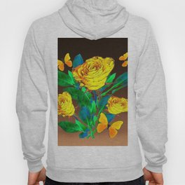 BROWN SHADES YELLOW SPRING ROSES & BUTTERFLIES Hoody