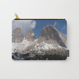 Selva di Val Gardena, Bolzano, Italy. Snow-covered mountain in the Dolomites; sunny spring day. Passo Sella Carry-All Pouch