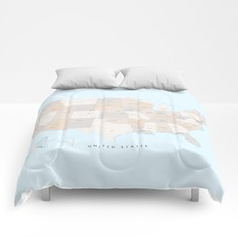 """Map of the USA with states and state capitals, """"Keane"""" Comforters"""