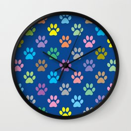 Colorful paw prints pattern Wall Clock
