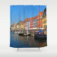 """copenhagen Shower Curtains featuring New Port """"Copenhagen"""" by Alan Pary"""