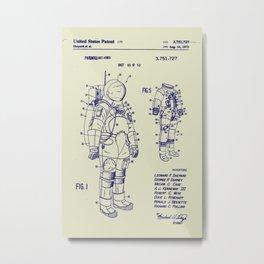 1973 NASA Apollo Astronaut Space Suit Patent Metal Print