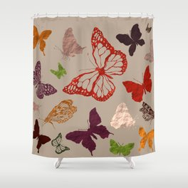 Autumn butterfly neutral Shower Curtain