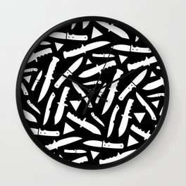 Survival Knives Pattern - White on Black Wall Clock