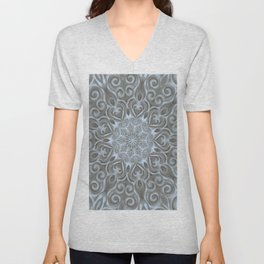 Light Blue Center Swirl Mandala Unisex V-Neck