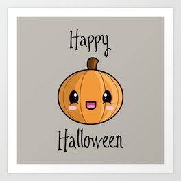 Happy Halloween Pumpkin Kawaii :) Art Print