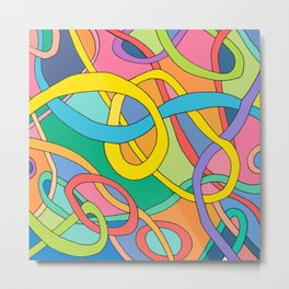 color curved lines Metal Print