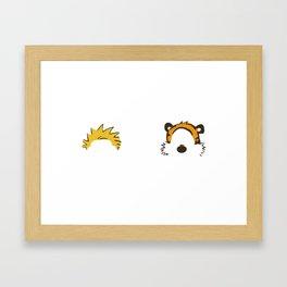 Calvin Hobbes Outline Framed Art Print