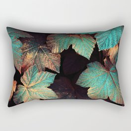Copper And Teal Leaves Rectangular Pillow