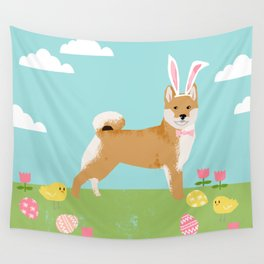 Shiba Inu easter dog breed pet art dog portrait pure breed easter eggs Wall Tapestry
