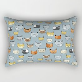 Cat Face Doodle Pattern Rectangular Pillow