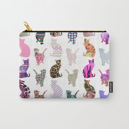 Girly Whimsical Cats aztec floral stripes pattern Carry-All Pouch