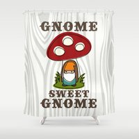 gnome Shower Curtains featuring Gnome Sweet Gnome - in Teal & Orange by Canis Picta