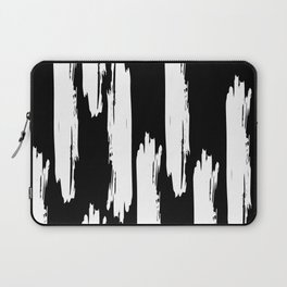 Black And White Retro Bold Paint Lines Pattern Laptop Sleeve