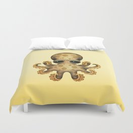 Cute Brown and Yellow Baby Octopus Duvet Cover