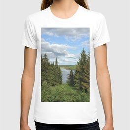 Landscape view on the taiga in Kargort village in Komi Republic of Russia. T-shirt