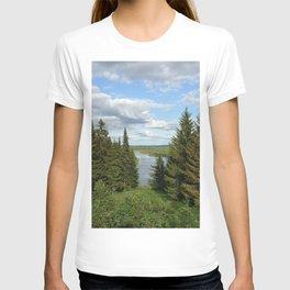 Landscape view on the taiga in Kargort village in Komi Republic of Russia. T-shirt