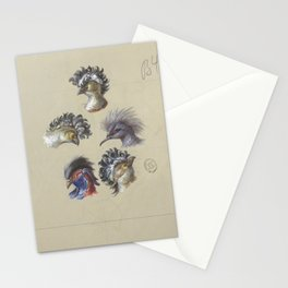French antique wallpaper: crested birds Stationery Cards