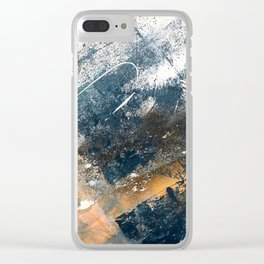 Wander [4]: a vibrant, colorful, abstract in blues, white, and gold Clear iPhone Case
