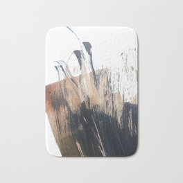 Clarity: a pretty, minimal abstract in rose gold and deep blue Bath Mat