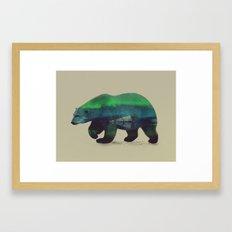 Polar Bear in Northern Lights Framed Art Print
