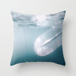 Underwater Paddle, Sand up Paddle Boarding Underwater View. Throw Pillow