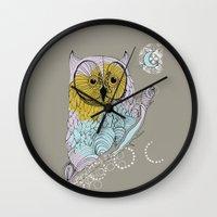 scandinavian Wall Clocks featuring Scandinavian owl by CASTELBARCO DESIGN