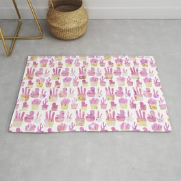 Girly blush pink coral watercolor hand painted cactus floral pattern Rug