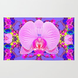 Purple Orchids Pattern Fantasy peacock eyes Art Pattern Art Design Rug
